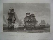 Grande gravure Combat frégate française La Minerve contre anglaises février 1779