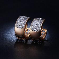 Hoop Earrings Rose Gold Plated Cubic Zirconia AAA Ear Stud Hoop