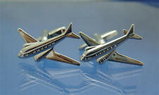 Silver Aeroplane Concorde Deluxe Cufflinks & Gift Pouch Aircraft Pilot Flying