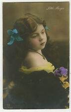 c 1910 Adorable little BARE SHOULDER GIRL children child antique photo postcard