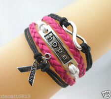 Infinity/Hope/Breast Cancer Ribbon Charms Leather Braided Bracelet Rose/Black