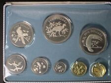 1974 Belize, 8 Coins Proof Set, Original Case COA Franklin Mint, Birds