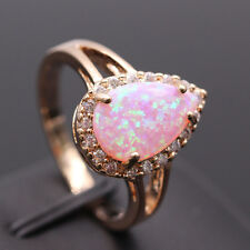 2017 Fashion Natural Pink AUSTRALIAN Fire Opal Rose Gold Filled Ring Size 7