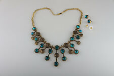 Women Fashion Jewelry Set Gold Plated Chain Necklace Earrings Gemstone Pendant