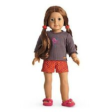 American Girl SAIGE PAJAMAS  PJ'S shorts top slippers retired NRFB  NO DOLL