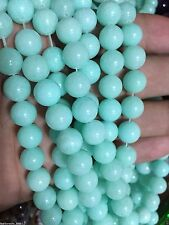 8mm Blue Brazilian Aquamarine Gems Round Loose Beads 15""