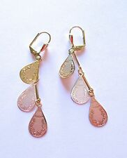 Earrings 18K gold plated-tear drop shapes -tri colored gold -lever back dangly