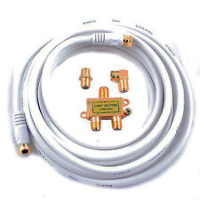 4PC 12ft RG6 Coax Coaxial Cable + 2 Way Splitter Switch F Connector Hook Up Kit