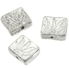 Marijuana Cannabis Pot Leaf Rectangle Silver Spacer Bead 18mm Pack of 3 (D44/8)