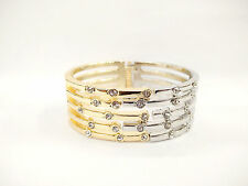 Luxury Line Style Silver And Gold Tone Micro Zircon Wide Bangle bracelets