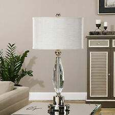 "NEW LARGE 31"" RICH CUT CRYSTAL TABLE LAMP BRUSHED NICKEL ACCENTS READING LIGHT"