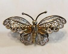 Antique Vintage Victorian Filigree Butterfly Brooch Pin Sterling Silver