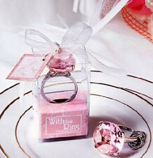 FD4519 Big size Faux Diamond Ring Keychain Wedding Bridal Shower 3cm x 5cm PINK