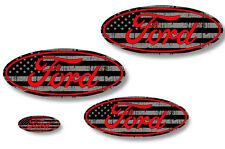 Front,Rear,Steering Wheel Decals Sticker Oval Overlay For Ford Expedition RED LN