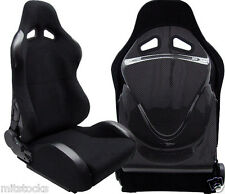 2 X BLACK CLOTH & CARBON RACING SEAT RECLINABLE w/ SLIDER FOR TOYOTA **