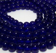 JEWELRY MAKING SUPPLIES LOT~8mm COBALT BLUE ROUND GLASS BEADS~44 INCHES TOTAL