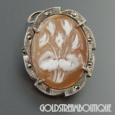 VINTAGE 800 SILVER FLORAL CAMEO MARCASITE OVAL ART DECO BROOCH PIN PENDANT 06219