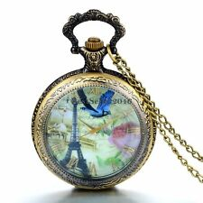 Vintage French Tower Rose Bird Locket Pocket Watch Pendant Womens Mens Necklace