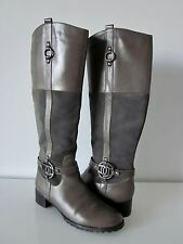 Etienne Aigner E-Velvet Brown tinted Grey leather & suede knee-high boots, 7 1/2