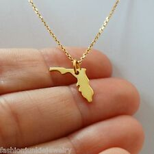 Florida State Charm Necklace - 24k Gold Plate 925 Sterling Silver State Jewelry