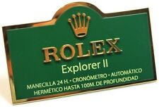 ROLEX EXPLORER II Display Metal Plaque Expositore 16570 216570 Stainlees Steel