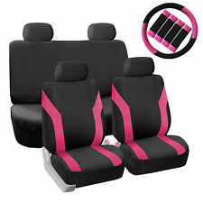 Car Seat Covers Pink Set for Auto w/Steering Wheel/Belt Pad/Head Rests