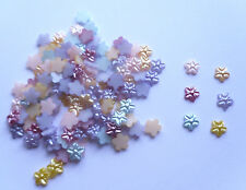 100 x 7mm Flat Back Pearl Flowers in 6 Mixed Colours (Q10)