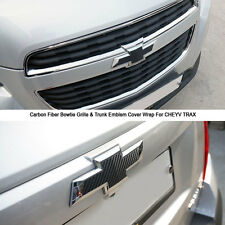 Carbon Fiber Bowtie Grille & Trunk Emblem Cover Wrap For CHEYV 2013+ TRAX