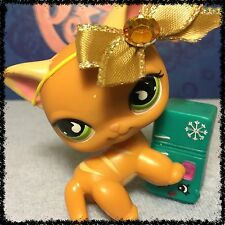 Littlest Pet Shop #525 ORANGE YELLOW STRIPED KITTY CAT GREEN EYES BLEMISHED FLAW