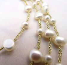 VINTAGE, FRESH WATER PEARL Necklace, Marked M.M. .925 Gold/Sterling Clasp J-53