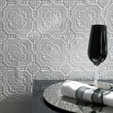 Vintage Tile White Paintable Textured Embossed Ceiling Wall Wallpaper