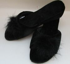 Fab Vintage Black Fluffy Mule Slippers - UK 4 - So Burlesque