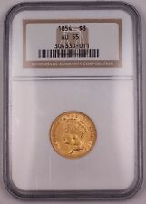 1854 $3 Three Dollar Gold Coin Ngc Au-55 Great Example