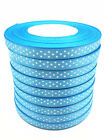 New hot 10 Yards Charm 3/8 9mm Polka Dot Ribbon Satin Craft Supplies Sky Blue#2