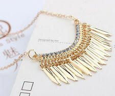 Womens Necklace Bib Statement Pendant Long Chain Gold Crystal Rhinestone
