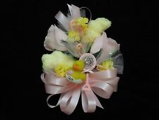 Baby Shower Corsage Yellow Baby Socks & Pink Ribbons & a Duck Handmade