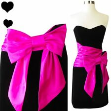 Betsey Johnson Evening Dress XS 2 New NWT Strapless Black Velvet Pink BOW Party