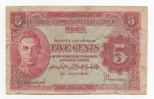 MALAYA 5 CENTS 1941 PICK 7 A LOOK SCANS