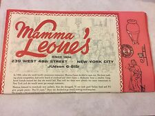 RARE MAMMA LEONE'S New York City Mailable Menu for THANKSGIVING DINNER