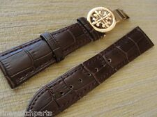 20mm Brown Leather Strap W/Rose Gold Deployment Buckle For/Fit PP Watch