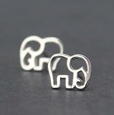925 Silver Plated Sweet Lovely Hollow Elephant Lady All_match Prom Stud Earrings