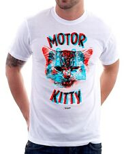 Motor Kitty Hello 3D white printed cotton t-shirt 9788