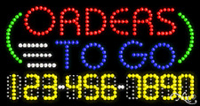 "NEW ""ORDERS TO GO"" 32x17 w/YOUR PHONE NUMBER SOLID/ANIMATED LED SIGN 25030"