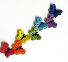 Butterfly appliques crochet, 2 inches (5 cm) wide, rainbow mix, 7 pc.