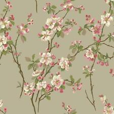 Wallpaper Raised Ink Cherry Blossoms Floral Red Green Pink on Pealized Beige