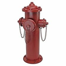 "23"" Old School Vintage Style Fire Hydrant Statue Red Metal 3 Nozzle ~ New"