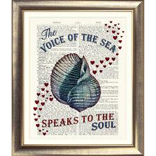 Art Imprimer Page Livre antique original vintage de Mer pralinées dictionnaire coeur nautique