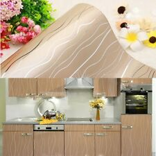 Gloss Champagne Stripe Cupboard Door Cover PVC Contact Paper Wallpaper 61x250cm
