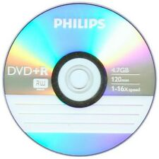 100 PHILIPS Logo 16X DVD+R DVDR Blank Disc Recordable Media 4.7GB 120Min