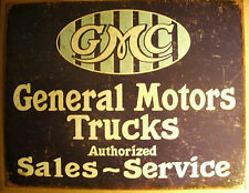 Old Style Tin Sign - GMC Sales & Service - Man Cave Sign - General Motors Trucks